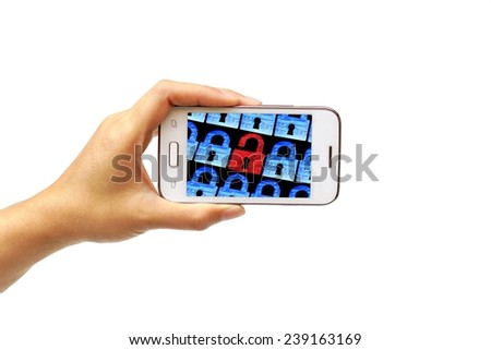 hand holding a white smartphone with security alert - security on mobile phone   - stock photo