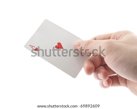 Hand holding ace of hearts
