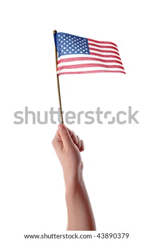 Hand holding American flag in mid air isolated on white background - stock photo