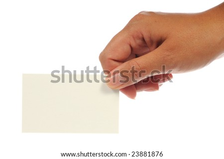 Hand holding an empty business card. Isolated on white. - stock photo