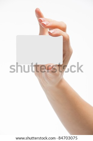 Hand holding an empty business card, ?n white background - stock photo