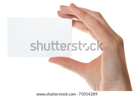 Hand holding an empty plastic card. isolated on white background