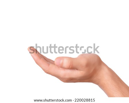 Hand holding an object on white background - stock photo