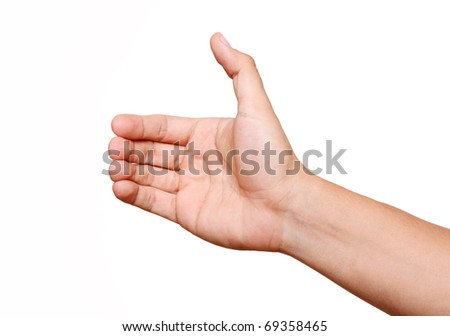 Hand holding an object on white background, Space to insert object