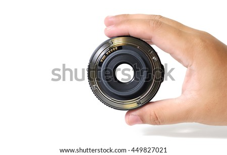 hand holding and look through the lens on white background