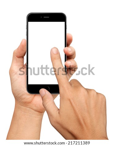 Hand holding and Touch on Black Smartphone on white background - stock photo