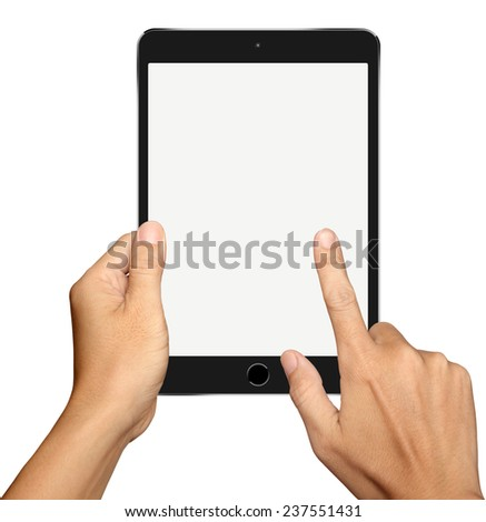 Hand holding and Touch on Small Black Tablet Computer on white background - stock photo