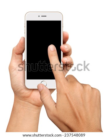 Hand holding and Touch on White and Gold Smartphone on white background - stock photo