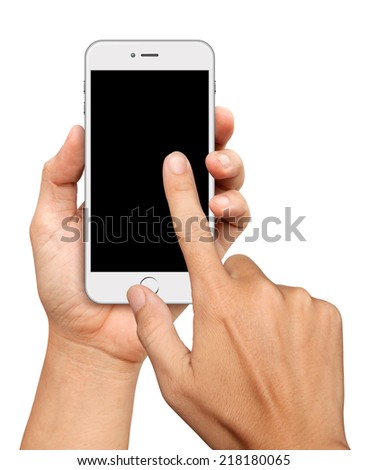Hand holding and Touch on White Smartphone on white background - stock photo
