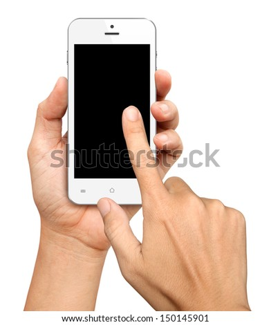 Hand holding and Touch on White Smartphone with blank screen on white background - stock photo