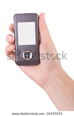 Hand holding and typing in a mobile phone isolated on white