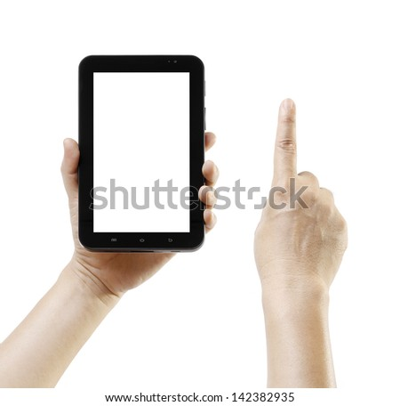 Hand holding android tablet like ipade, blank screen for advertisement. Touching hand and Hand holding android tablet pc like ipade isolated on white background. Mobile phone, Portable computer gadget - stock photo