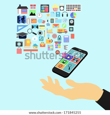 hand holding applications graphical user interface flat icons with smart phone