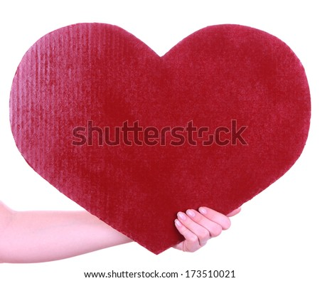 Hand holding big red heart isolated on white - stock photo