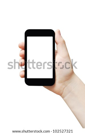 Hand holding big touch screen smart phone, isolated, clipping path - stock photo