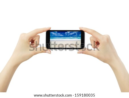 Hand holding big touchscreen smart phone, clipping path - stock photo