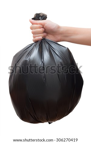 Hand holding black bag of rubbish. White isolated studio shot. Have clipping path. - stock photo