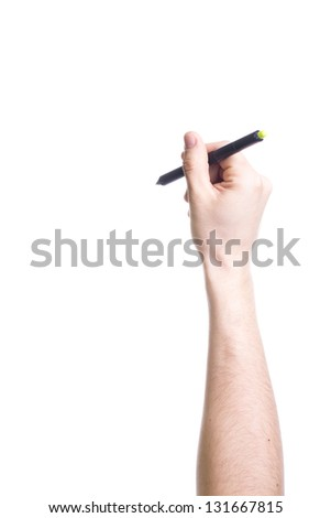 Hand holding black pen isolated on white background.