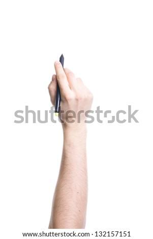Hand holding black pen isolated on white background. - stock photo