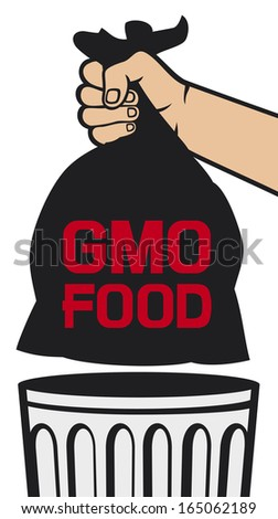 hand holding black plastic trash bag with GMO food (no GMO design, hand throwing trash bag in a trash bin) - stock photo