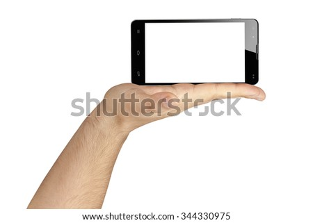 Hand holding black smartphone in landscape orientation with blank white screen isolated - stock photo