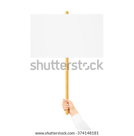 Hand holding blank banner mock up on wood stick isolated. Empty board plank hold in hands. Holding sign up. Clear signal stick. Man person holding placard signal. Protesters people on picket strike. - stock photo