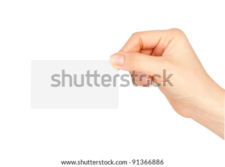Hand holding blank business card isolated - stock photo
