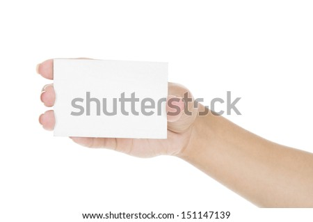 Hand holding blank business card isolated on white - stock photo