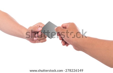 Hand holding blank business card Isolated on white. - stock photo