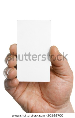 Hand holding blank business card, put your own text here - stock photo