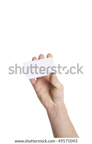 Hand holding blank Business card,with Clipping Path - stock photo
