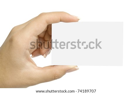hand holding blank card