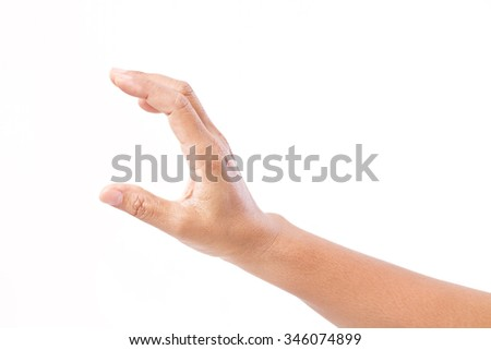 hand holding blank content, isolated