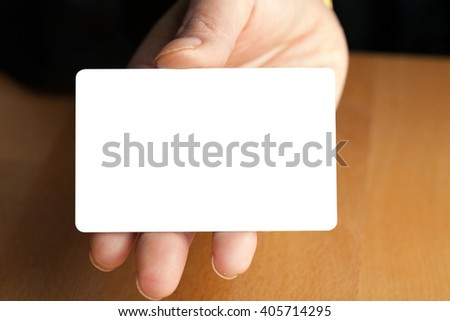 Hand Holding Blank Credit Card - stock photo