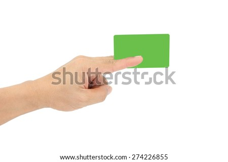 Hand holding blank green plastic business or credit card with copy-space, isolated on white.