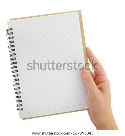 Hand holding blank notebook template isolated on white - stock photo