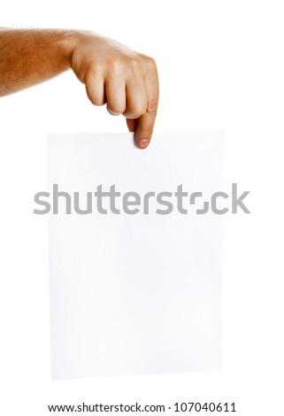 Hand holding blank sheet of paper isolated on white background. Copy space