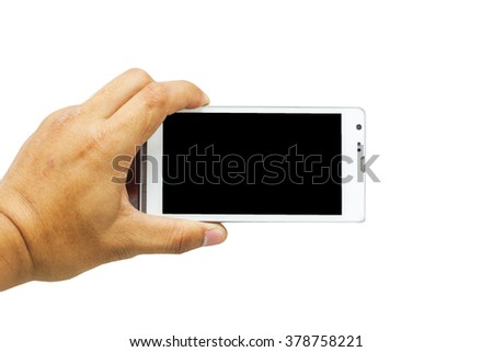 hand holding blank smart phone isolated on white background