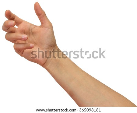 Hand holding blank space. - stock photo