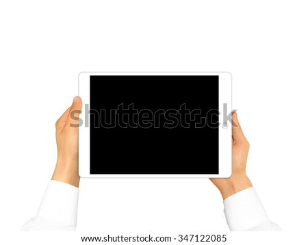 Hand holding blank tablet mock up isolated. New portable pc screen presentation. Empty display device mockup. Space touchscreen gadget hold in hands. White hd wide screen monitor holder. - stock photo