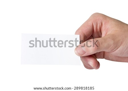 Hand Holding Blank White Business Card On White Background - stock photo