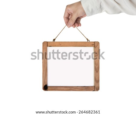 Hand holding blank white message board isolated on white background - stock photo