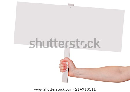 Hand holding blank white sign