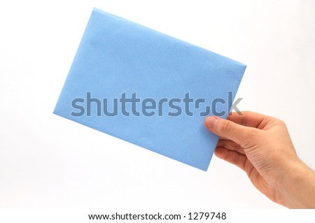hand holding blue envelope - stock photo