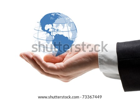 Hand holding blue globe - global business concept - stock photo