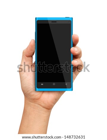 Hand holding Blue Smartphone with blank screen - stock photo