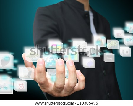 Hand holding box object - stock photo