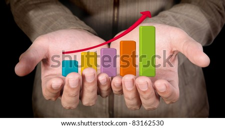 hand holding business arrow graph