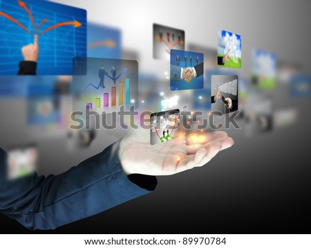 hand holding business collection - stock photo