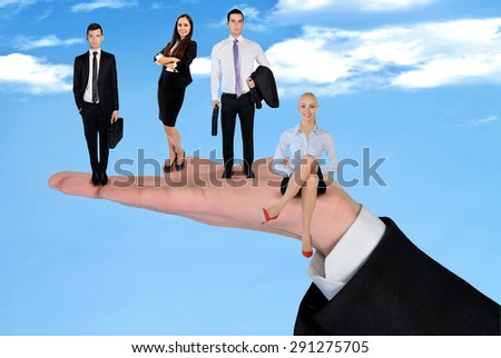 Hand holding business team outdoor - stock photo